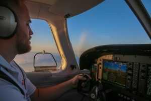 Student flying plane