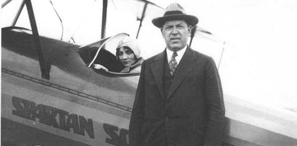W.G. Skelly with airplane - Spartan College