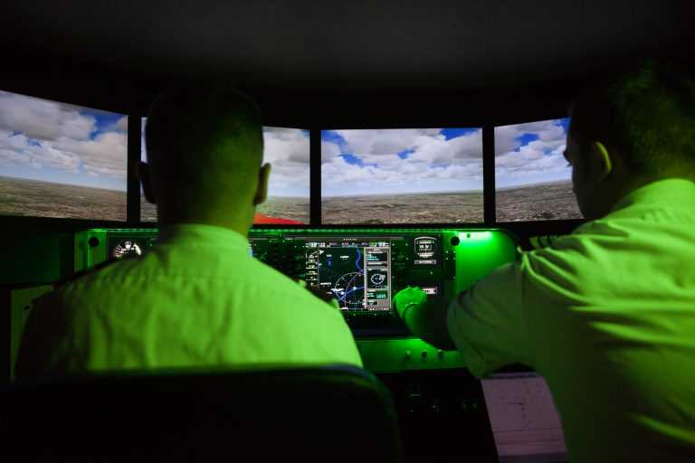 Two Pilots Training in Spartan College's Aviation Flight Program