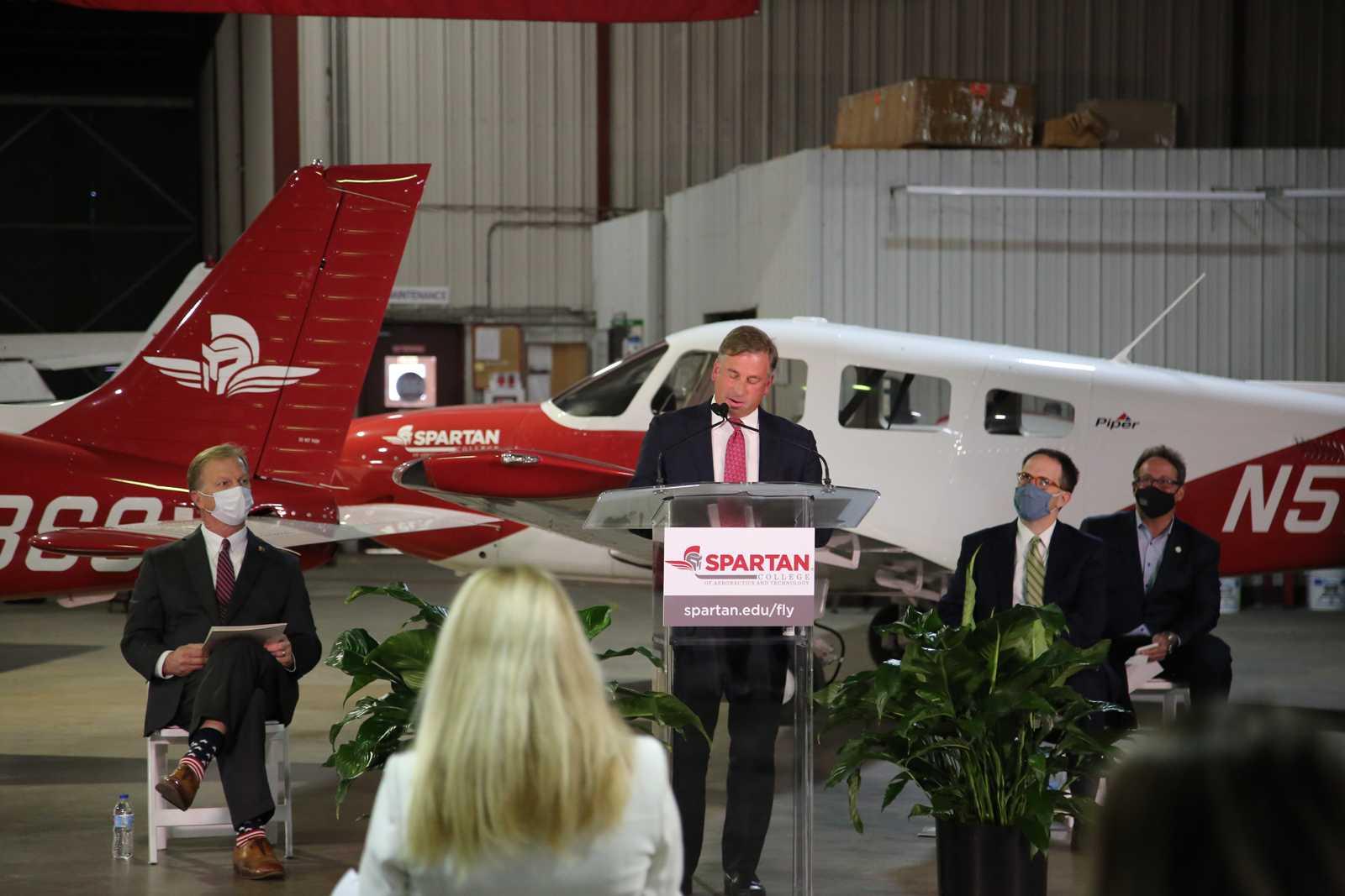 Spartan College 5000th Archer Plane Rob Polston Speaking