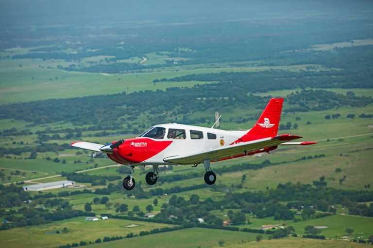 Spartan College Plane in Flight Tulsa