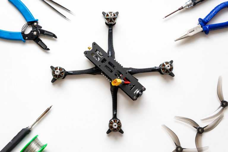 drone with tools around