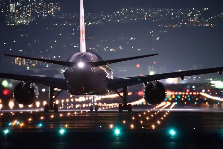 night flight airplane