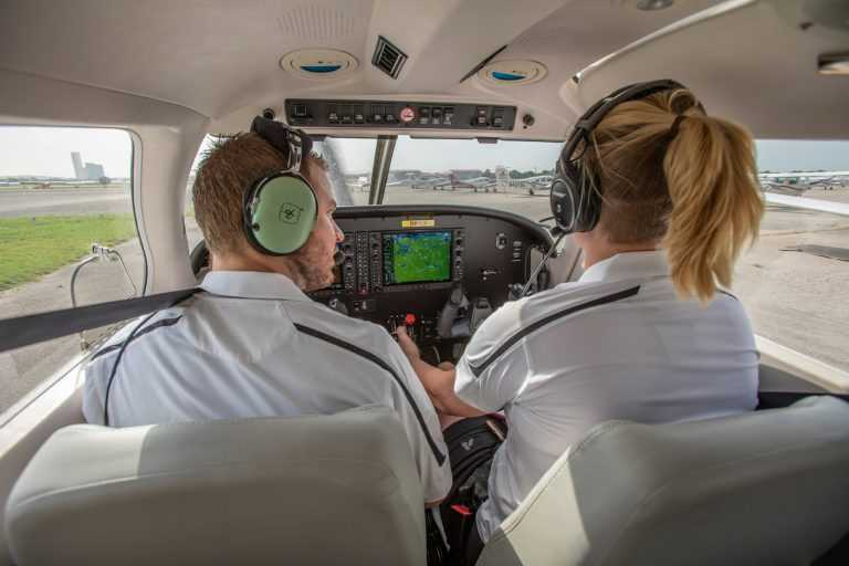 pilot and student in plane
