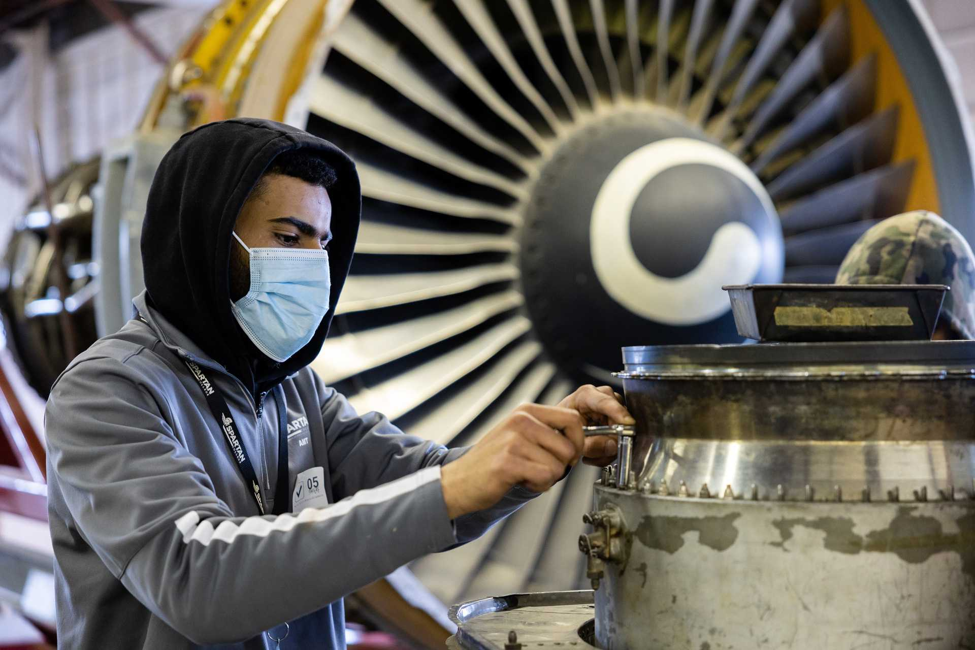 amt student in front of turbine
