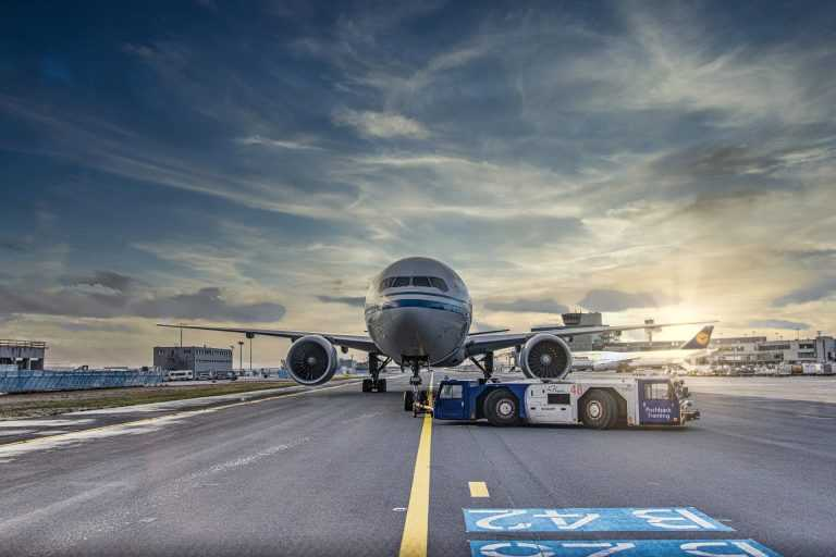 Commercial airplane on runway